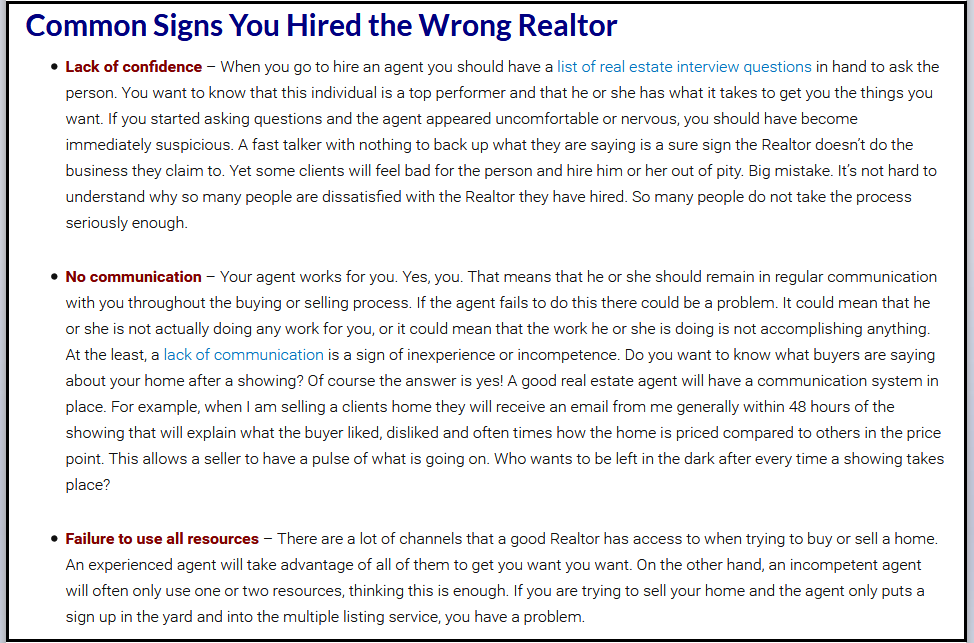 Dc Fawcett VREIC Reviews - Hiring wrong real estate agent