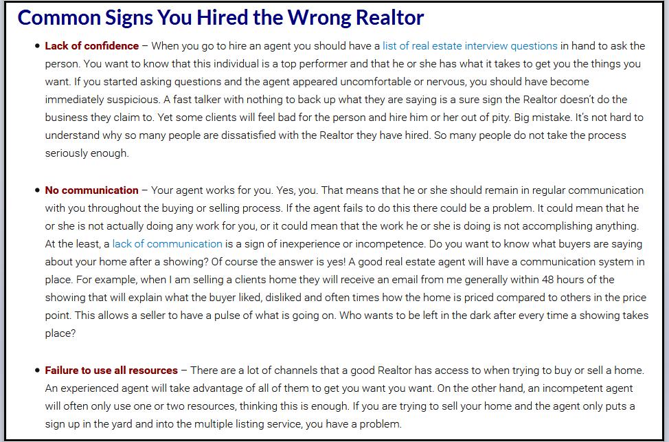 Hiring wrong real estate agent