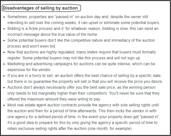 DC Fawcett Complaints Disadvantages selling by auction